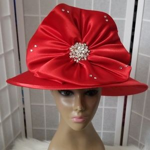 Accessories - Red dress satin hat